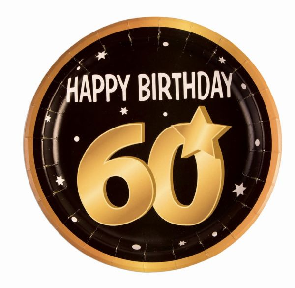 60th Birthday Paper Plates ( 8 in pkt) Party Tableware